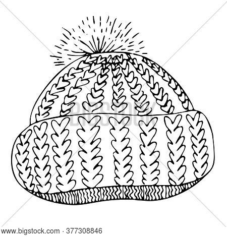 Warm Knitted Hat With A Pompom, Freehand Drawing, Vector Doodle Element, Coloring Book, Black Outlin