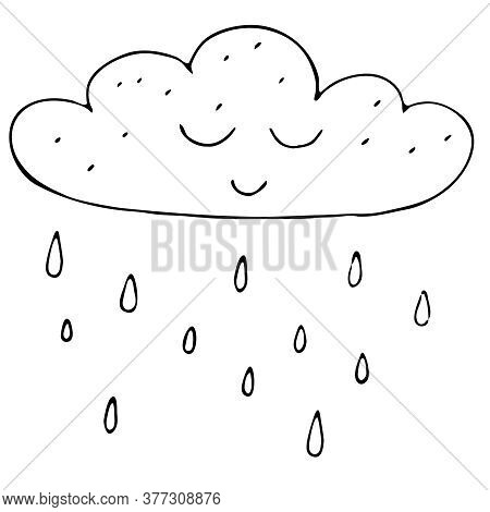 Cute Autumn Cloud With Raindrops, Freehand Drawing, Vector Set In Doodle Style, Coloring Book, Black
