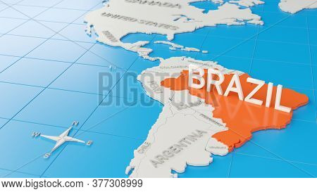 Simplified 3d Map Of South America, With Brazil Highlighted. Digital 3d Render.