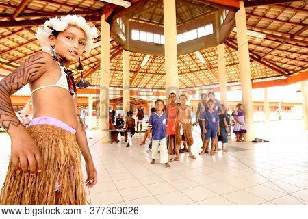 Pau Brasil, Bahia / Brazil - April 24, 2012: Indigenous Children Of Atina Pataxo Ha-ha-hae Are Seen