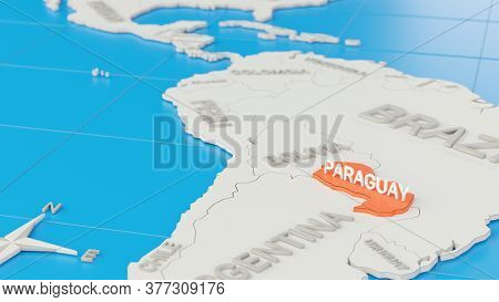 Simplified 3d Map Of South America, With Paraguay Highlighted. Digital 3d Render.