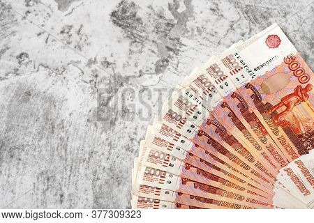 Russian Money Banknotes Of Five Thousand Rubles, Background.