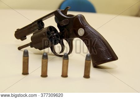 Salvador, Bahia / Brazil - September 16, 2013: Revolver Caliber 38, Seized By The Police In Police A