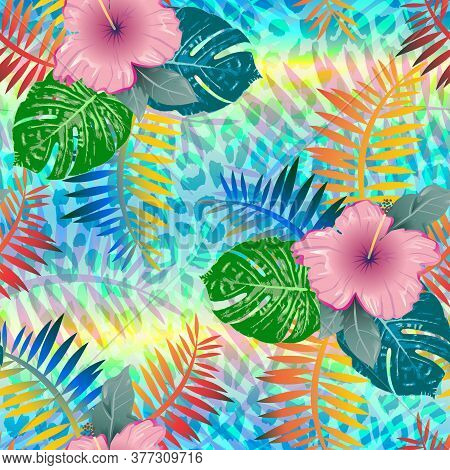 Tropical Summer Seamless Pattern. Tropical  Tropical Leaves At Animal Leopard Background. Vector Ill