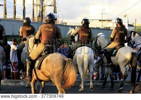 Salvador, Bahia / Brazil - April 13, 2014: Mounted Police Officers From The State Of Bahia Are Seen