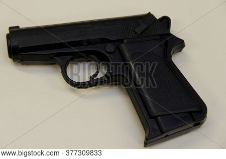 Salvador, Bahia / Brazil - July 7, 2014: Replica Of A Plastic Pistol Seized By The Police And Which