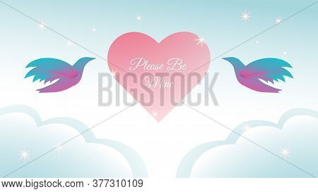 Colorful Romantic Vector Illustration. Beautiful Background Design Template. Twin Flying Birds, Pink