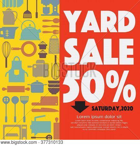 Yard Sale 50 Percent Kitchen Equipment Concept Vector Illustration. Eps 10