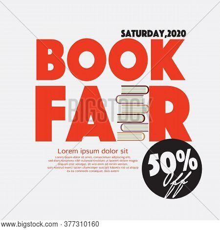 50 Percent Off Book Fair Festival Poster For Advertising Concept Vector Illustration. Eps 10