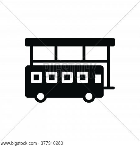 Black Solid Icon For Bus-stop Bus Stop Bus-station Terminal Passenger Travel Service Navigation Trip
