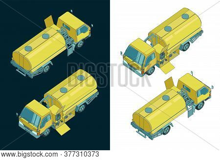 Refueller Truck Color Isometric Drawings