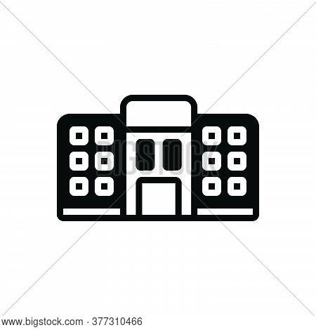 Black Solid Icon For Hostel Dormitory Dorm Bedroom Dormer Tourism Residential Room