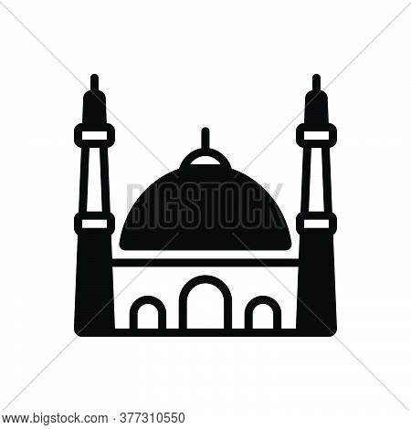 Black Solid Icon For Mosque Istanbul Muslim Religion Traditional Holy Pray Building