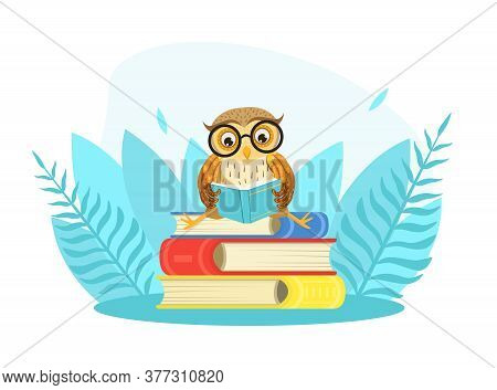 Wise Owl Bird Character In Glasses Sitting On Pile Of Books, Back To School Concept Cartoon Style Ve