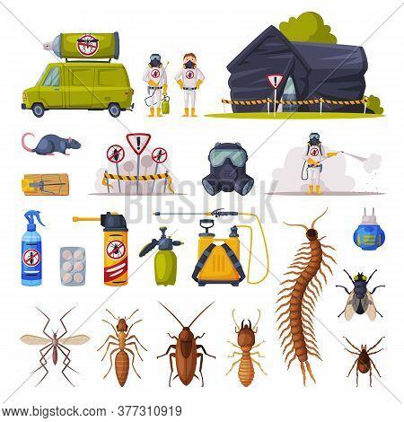 Professional Home Pest Control Service Set, Exterminator Wearing Protection Uniform With Exterminati