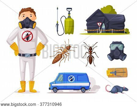 Home Pest Service, Exterminator Wearing Protection Uniform With Detecting, Exterminating And Protect