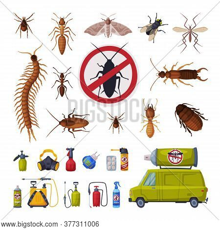 Pest Control Service Set, Harmful Insects Exterminating And Protecting Equipment Vector Illustration