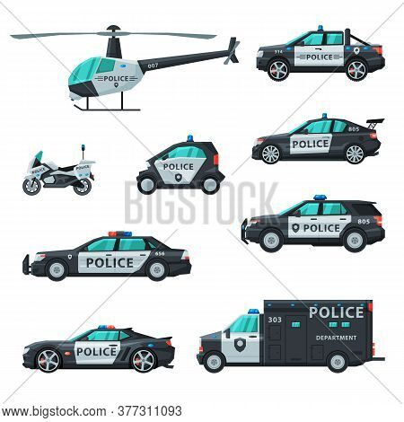 Police Vehicles Collection, Various Emergency Patrol Transport, Side View Flat Vector Illustration