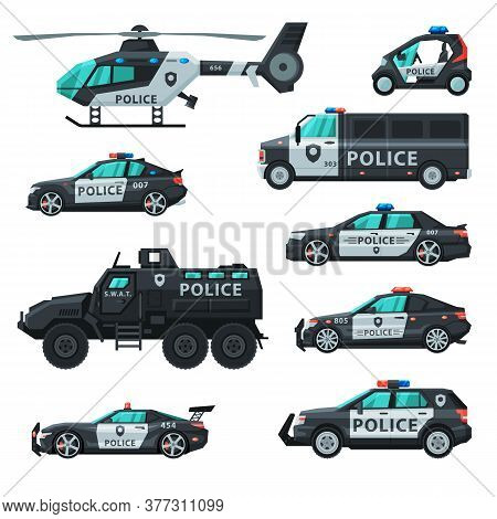 Police Vehicles Collection, Emergency Patrol Transport, Side View Flat Vector Illustration