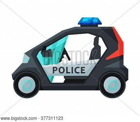 Police Electric Mini Car, Emergency Patrol Vehicle Flat Vector Illustration