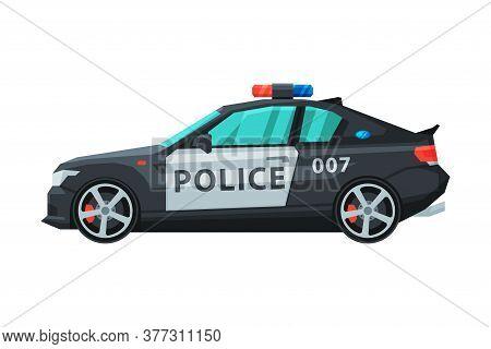 Police Car, Emergency Patrol Transport, Side View Flat Vector Illustration