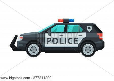 Police Suv Car, Emergency Patrol Off Road Vehicle Flat Vector Illustration