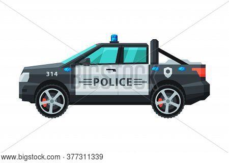 Police Off Road Vehicle, Emergency Patrol Transport Flat Vector Illustration