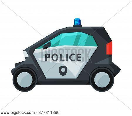 Police Electric Mini Car, Emergency Patrol Urban Vehicle Flat Vector Illustration