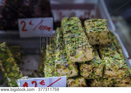 Selection Of Turkish Delight Or Rahat Lokum And Nougat Candy On Display At An Outdoor Farmers Market