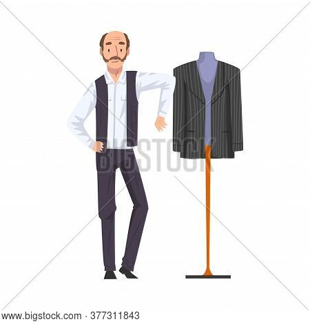 Male Tailor Adjusting Clothes On Mannequin, Clothing Designer Tailor Working At Atelier Vector Illus