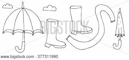 Set Of Items For Rainy Autumn - Umbrella, Rubber Boots, Scarf, Freehand Drawing, Vector Set In Doodl