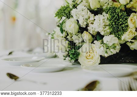 Love Table Setup, Wedding Guest Table, Reception Layout In White