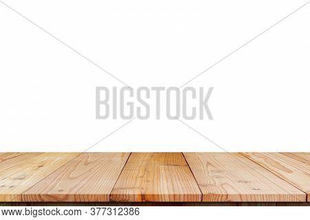 Wood Shelf Table Isolated On White Background.