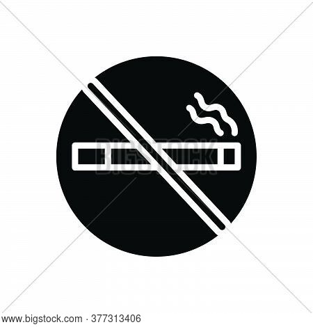 Black Solid Icon For No-smoking Smoke Cigarette Forbidden Habit Cigar Tobacco Nicotine  Prohibition