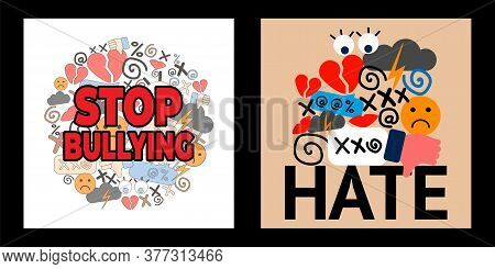 Set With Two Illustrations Of National Bullying Prevention Month. Hate And Cyberbullying. Online Pre