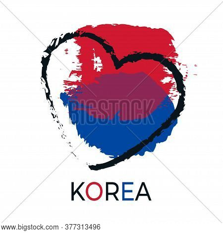 South Korea Flag Element. Asian Yin Yang Sign Composition. Hand Drawn. I Love Korea. Modern Abstract