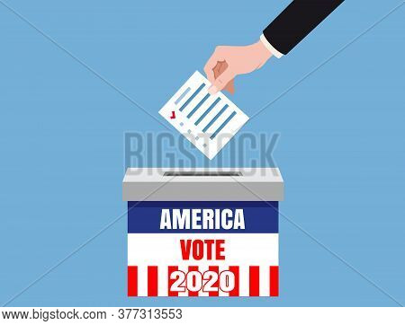 The Us Presidential Election 2020. Hand Putting Voting Blancs Papers In Vote Box, Ballot Campaign. V