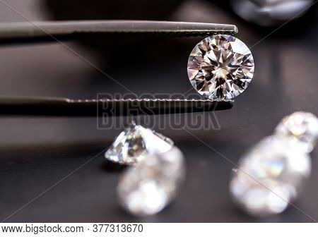 Diamond Gemstones On The Black Background. Jewelry Workshop Background