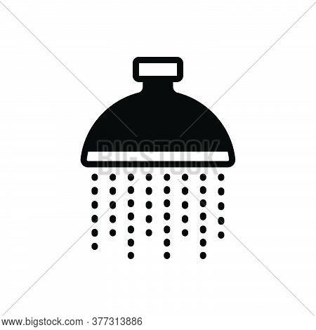 Black Solid Icon For Shower Bathing Bathroom Drops Restroom Hygienic Wash