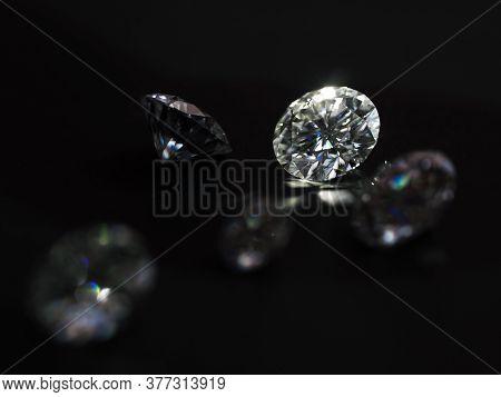 Diamond Gemstones On The Black Background. Jewelry Workshop Background