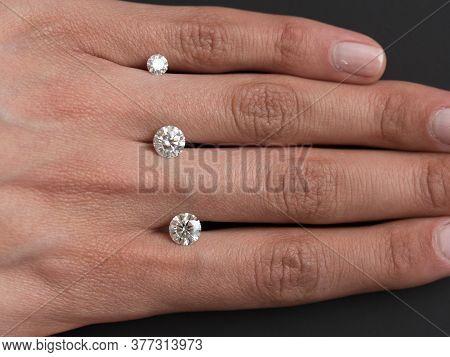 Round Cut Diamonds Gemstone On Woman Hand