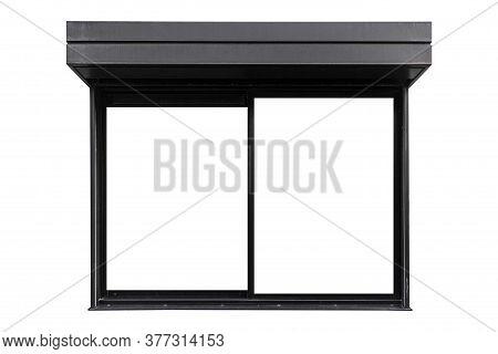 Black Aluminium Window Frame Isolated On White Background