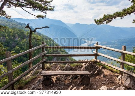 Banjska Stena Viewpoint In Tara National Park Looking Down To Canyon Of Drina River, Serbia