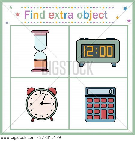Educational Card For Children, Find An Extra Object Where The Clock And Calculator Are Shown, The Ca