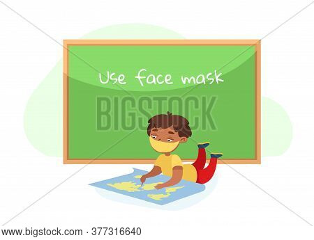 Kid Character In Face Mask Lying On Floor With World Map Studying Geography. Back To School During C