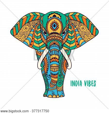 Boho Elephant. Vector Illustration. Floral Design, Hand Drawn Map With Elephant Ornamental