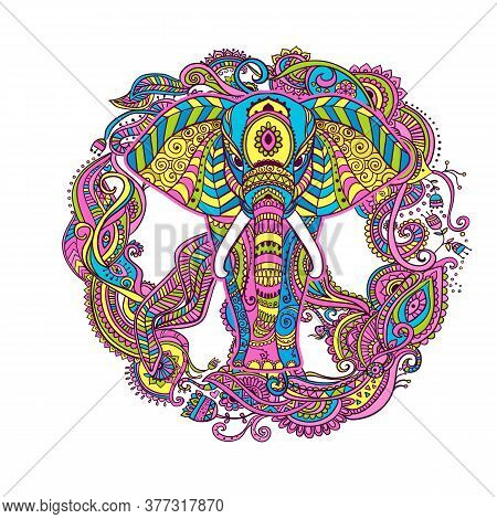 Boho Elephant. Vector Illustration. Floral Design, Hand Drawn Map With Elephant Ornamental Hippie- B