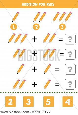 Addition With Cute Cartoon Vector Pencil. Printable Worksheet.