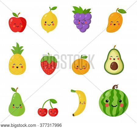 Set Of Cute And Happy Kawaii Fruits And Berries.