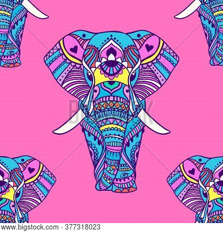 Boho Elephant Pattern. Vector Illustration. Floral Design, Hand Drawn Map With Elephant Ornamental.